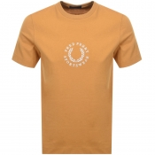 Fred Perry Circular Logo T Shirt Yellow